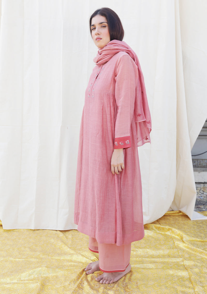 Pink Printed Gathered Kurta