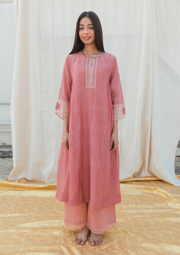 Pink Dotted Gathered Kurta with Pants