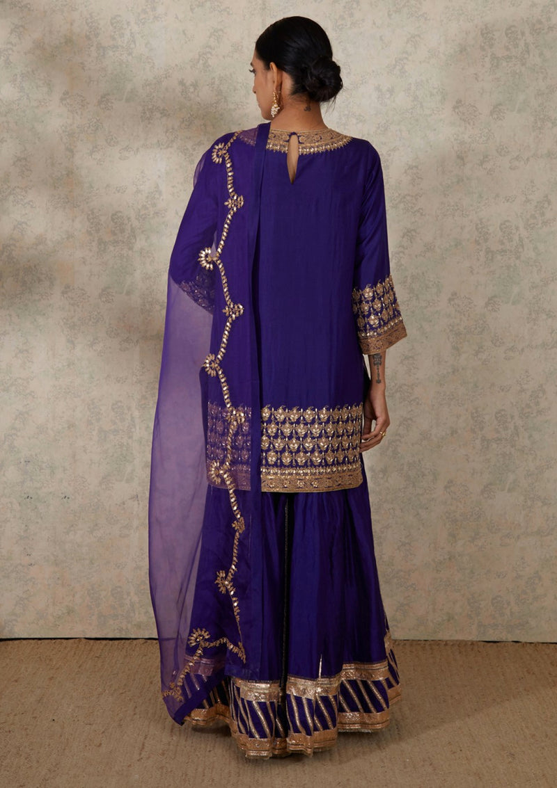Purple Gota Border Embroidered Organza Dupatta