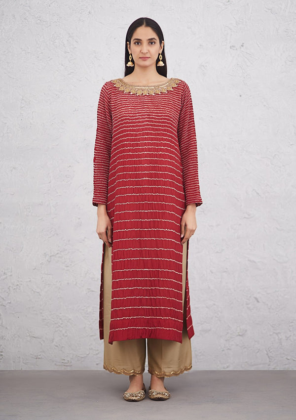 Red Traditional Lined Bandhani Kurta with Embroidered Pants