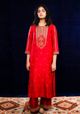 Red Zardosi and Resham Embroidered Kurta with Pants