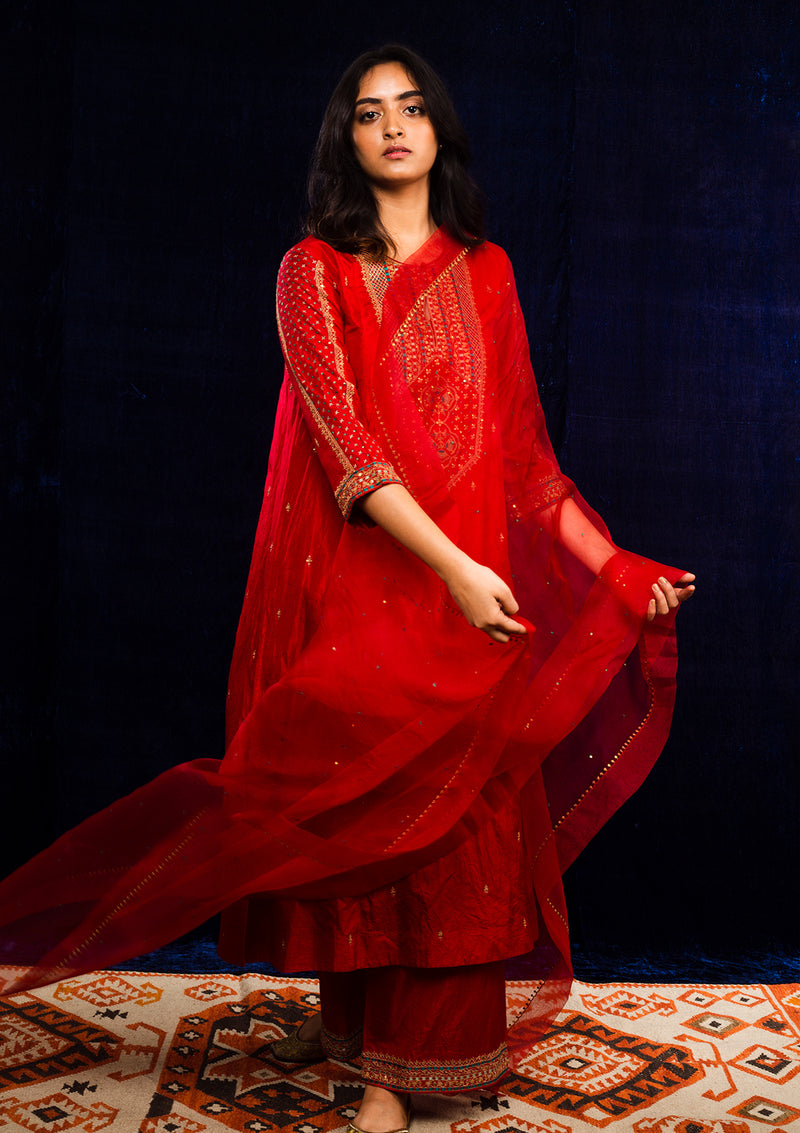 Red Sequin Dotted Embroidered Dupatta