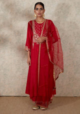 Red Dupatta with Hand Embroidered Border