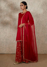 Red Dupatta with Embroidered Border