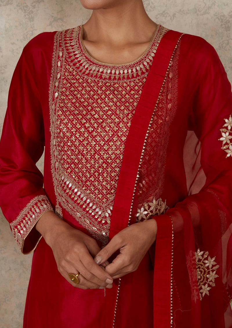 Red Gota Buta Embroidered Dupatta
