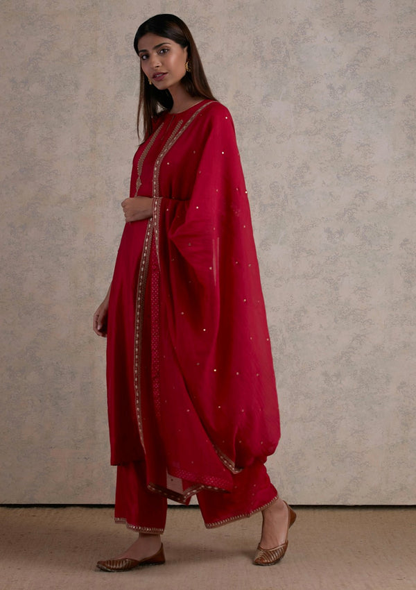 Red Embroidered Straight Kurta and Pants