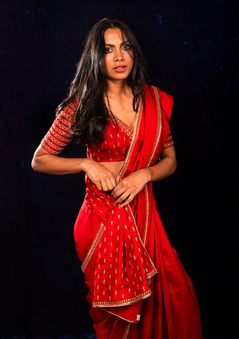 Red Embroidered Silk Saree