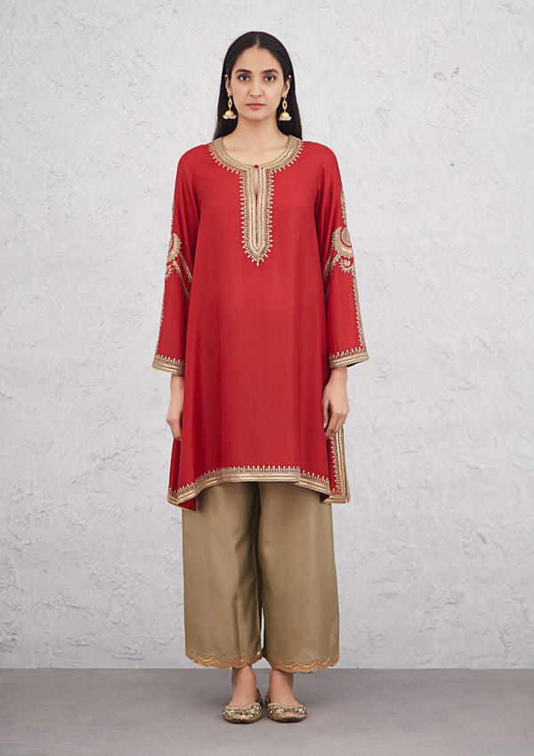 Red Festive Phiran Embroidered Kurta with Scallop Pants