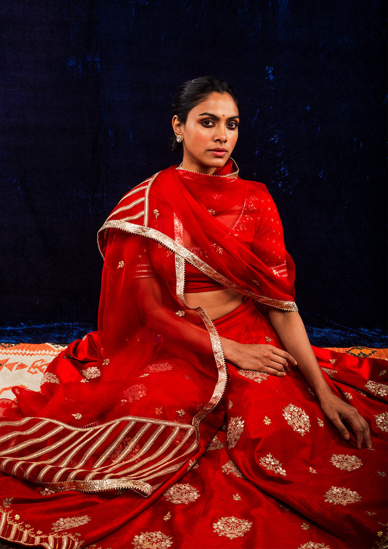 Red Zardozi Embroidered Lehenga with Blouse and Dupatta