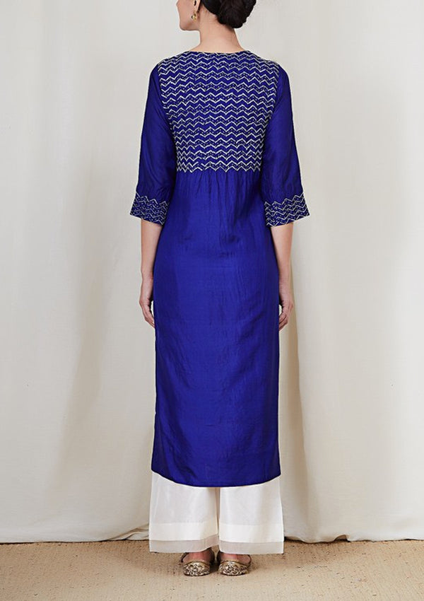 Royal Blue Bandhani Kurta with Organza Facing Pants