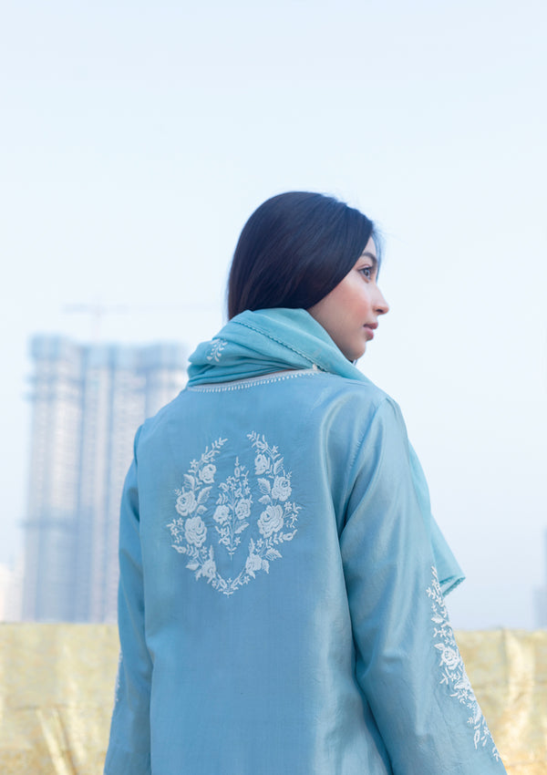 Powder Blue Chanderi Dupatta