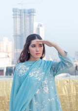 Powder Blue Embroidered Chanderi Dupatta