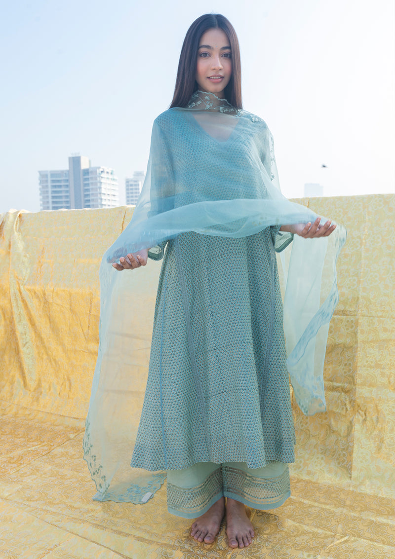 Sage Blue Embroidered Organza Dupatta With A Scalloped Edging