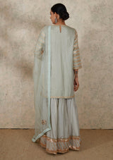 Sage Blue Embroidered Organza Dupatta