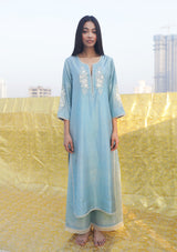 Powder Blue Floral Embroidered Straight Kurta and Pants