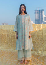 Sage Blue Kalidaar Kurta with Pants