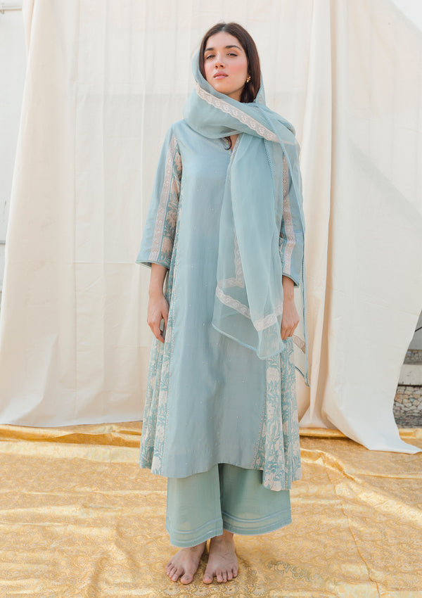 Light Blue Printed Kali Kurta with Pants