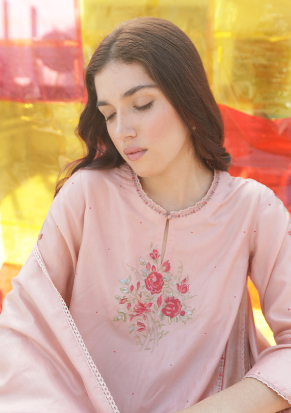 Salmon Pink Kalidaar Kurta with Pants