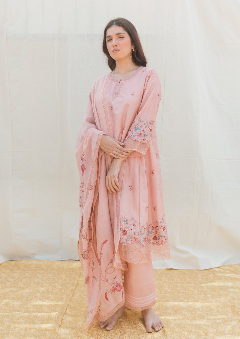 Blush Pink Embroidered Chanderi Dupatta