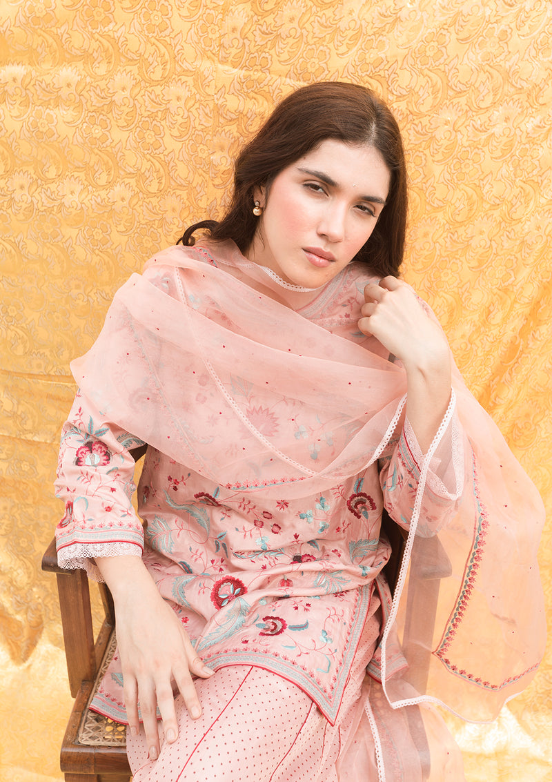 Salmon Pink Embroidered Organza Dupatta With Fine Edging