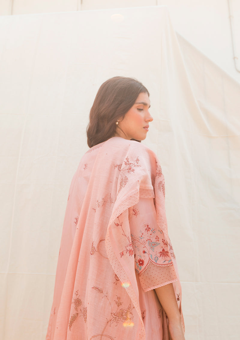 Blush Pink Floral Embroidered Kali Kurta and Pants