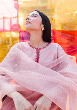 Salmon Pink Straight Embroidered Kurta and Pants