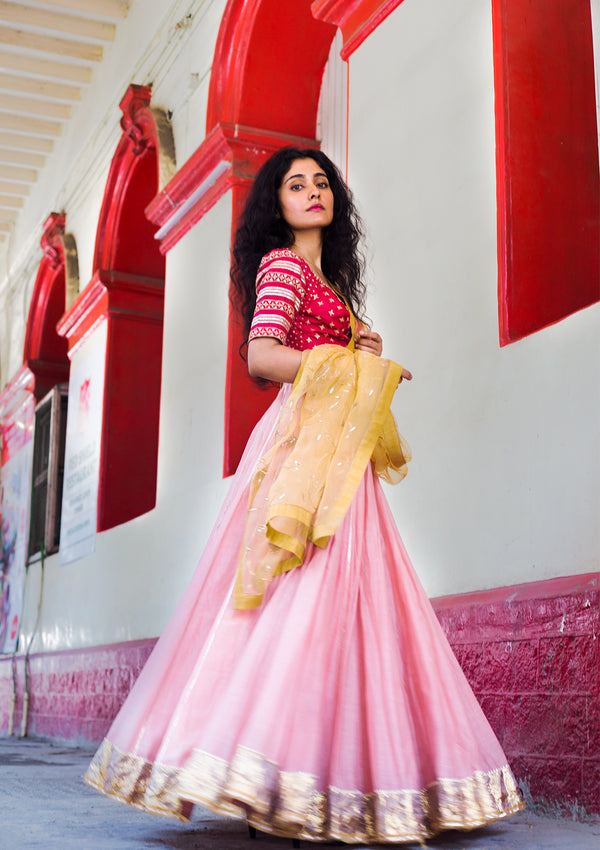 Salmon Pink Chanderi Lehenga with Gota Border