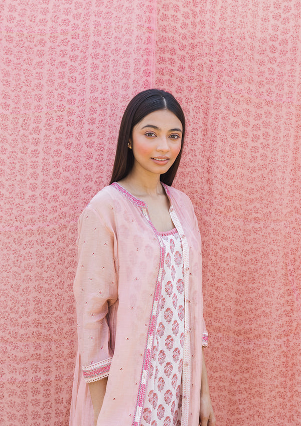 Light Pink Embroidered Jacket with a Printed Slip