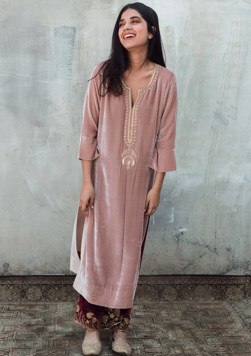 Salmon Pink Velvet Embroidered Kurta with Maroon Pants and Dupatta