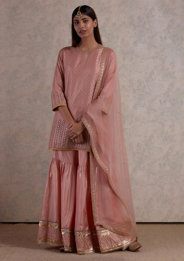 Salmon Pink Gota Embroidered Kurta with Sharara