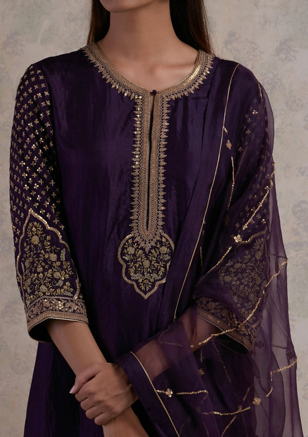 Wine Embroidered Kurta with Pants