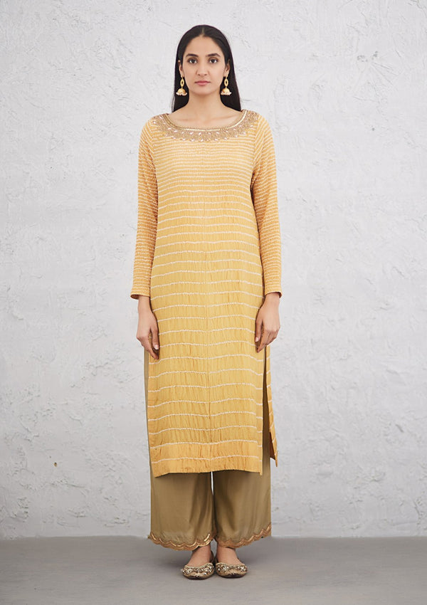 Yellow Lined Bandhani Kurta with Pants