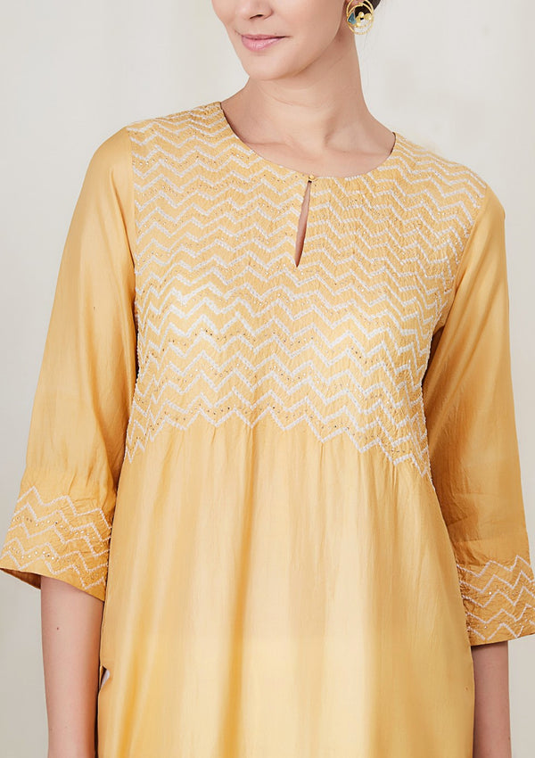 Yellow Bandhani Zigzag Badla Kurta and Pants
