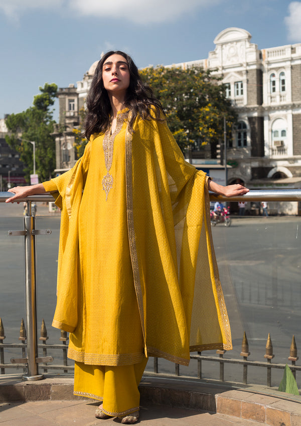 Yellow Dotted Chanderi Kurta with Pants