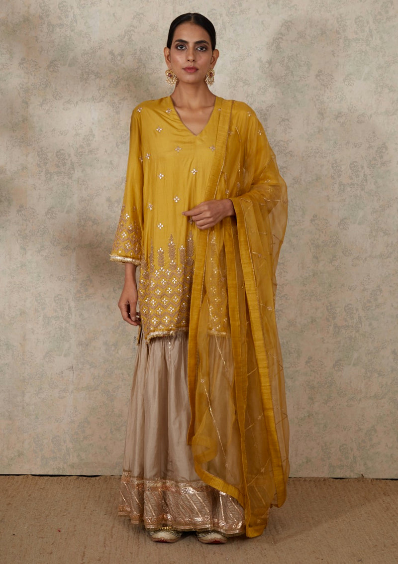 Yellow Line Embroidered Organza Dupatta