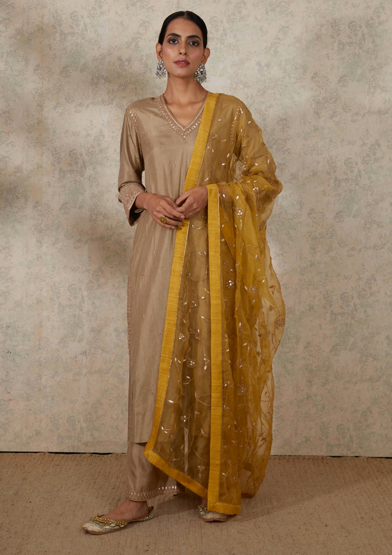 Yellow Intricate Jaal Embroidered Organza Dupatta