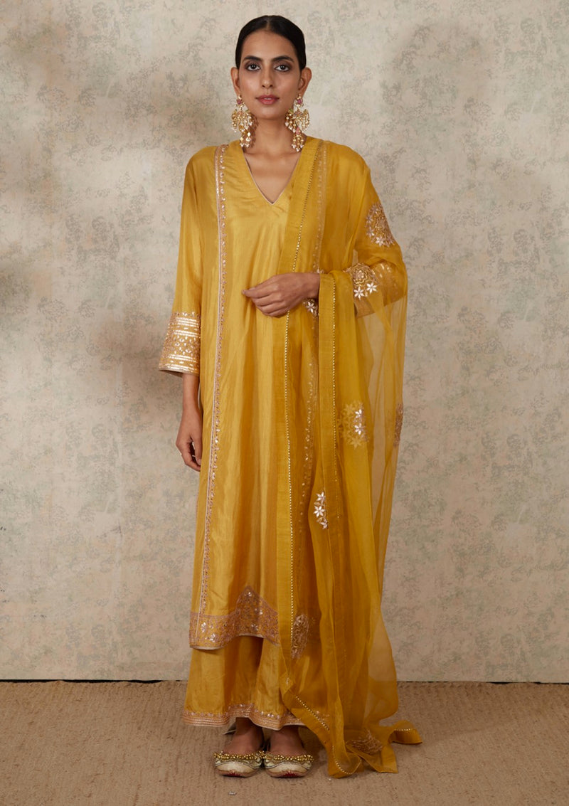 Yellow Embroidered A Line Kurta and Pants