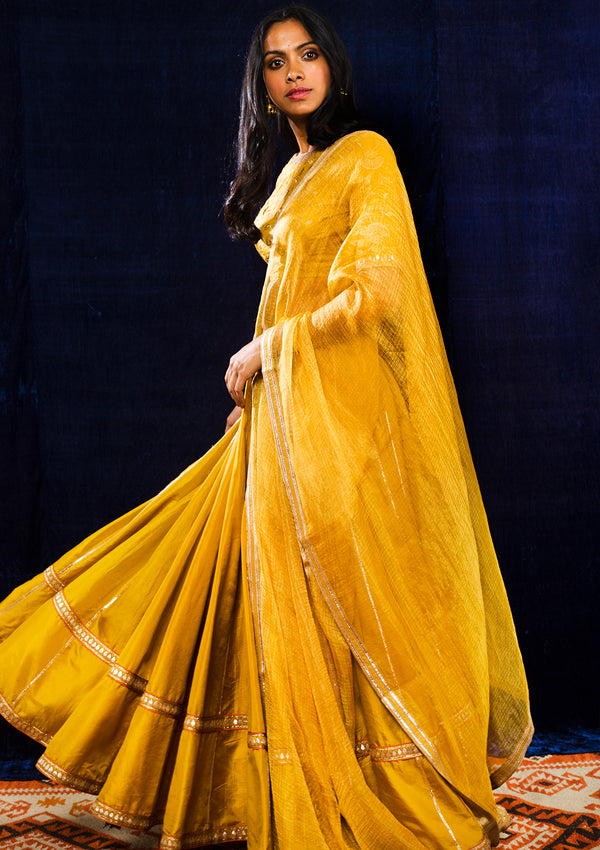Yellow Embroidered Lehenga with Blouse and Dupatta