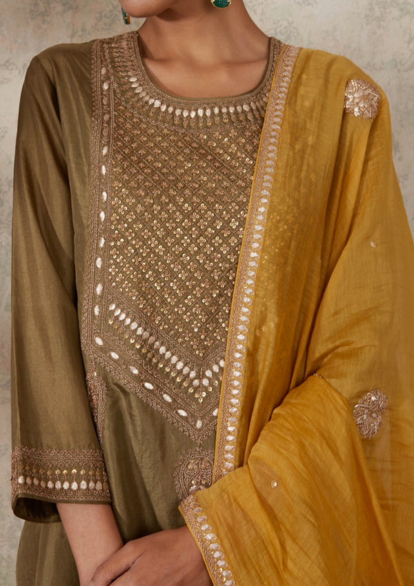 Yellow Embroidered Chanderi Dupatta