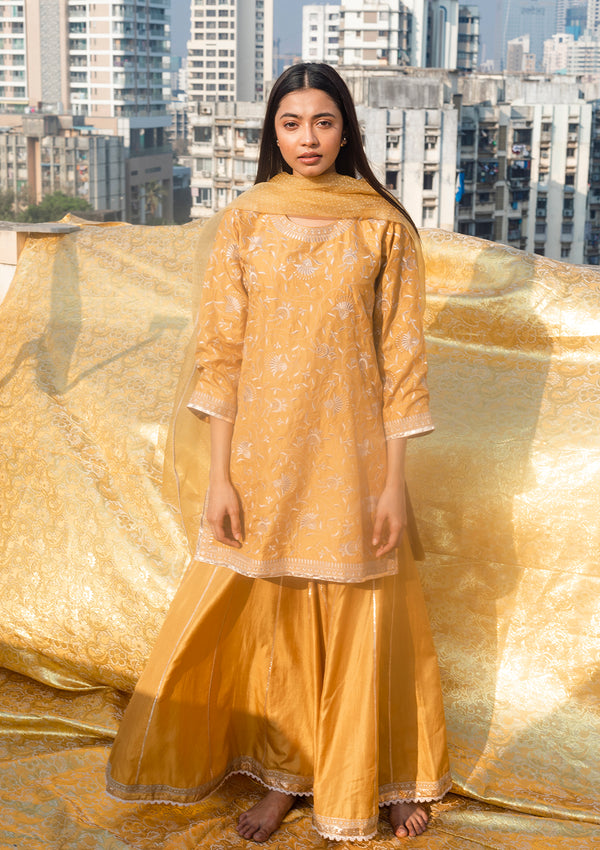 Yellow Resham Embroidered Kurta and Sharara