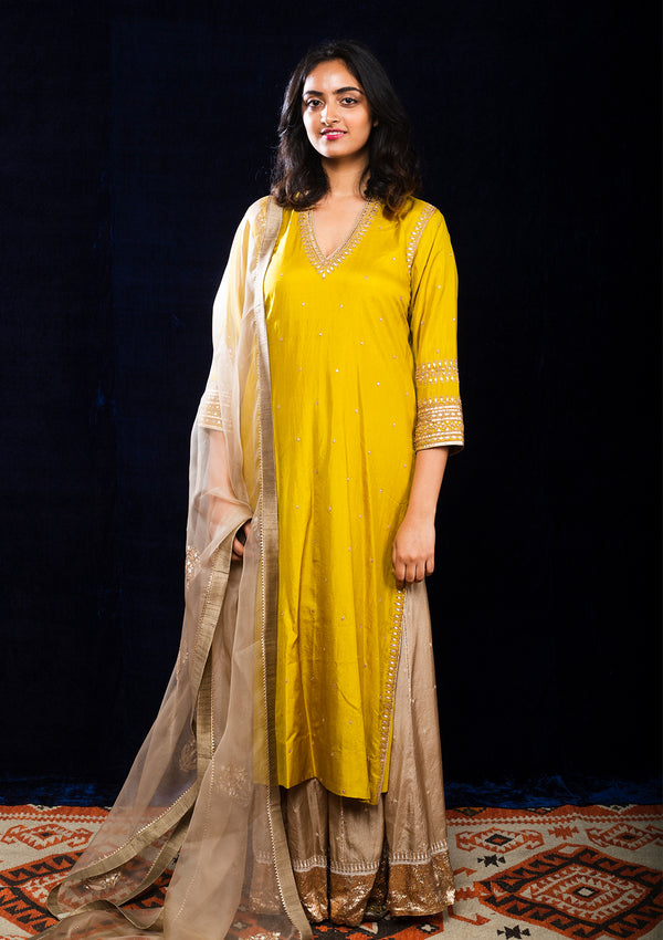 Yellow Long Kurta and Beige Sharara