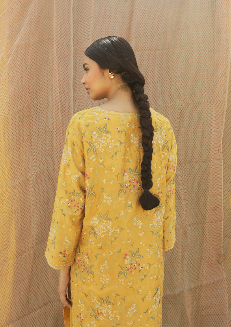 Yellow Resham Embroidered Straight Kurta with Pants
