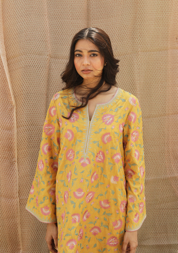Yellow Resham Embroidered Short A Line Kurta with Pants