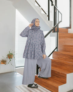 Kosy Top Printed Grey Cherry