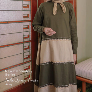 Embroidery Series Tula Long Tunic Army