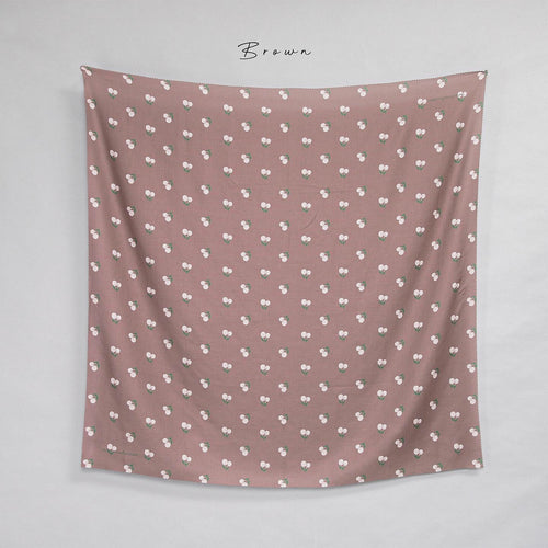 Maima Scarf Freshness Series Fruit & Floret -Pastel Cherry- Brown