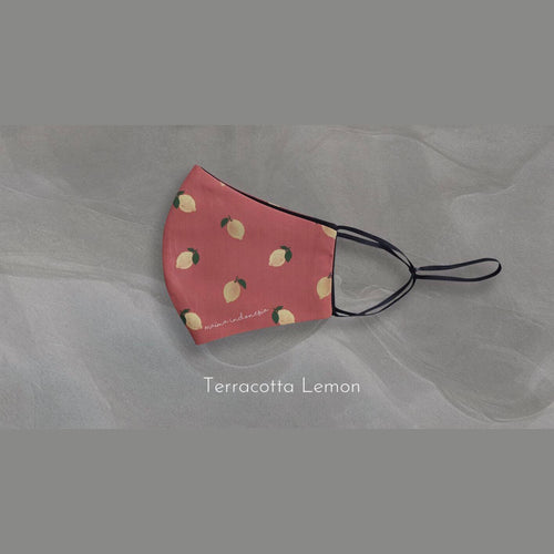 Masker microfiber Printed Fruit & Floret - Terracotta Lemon-