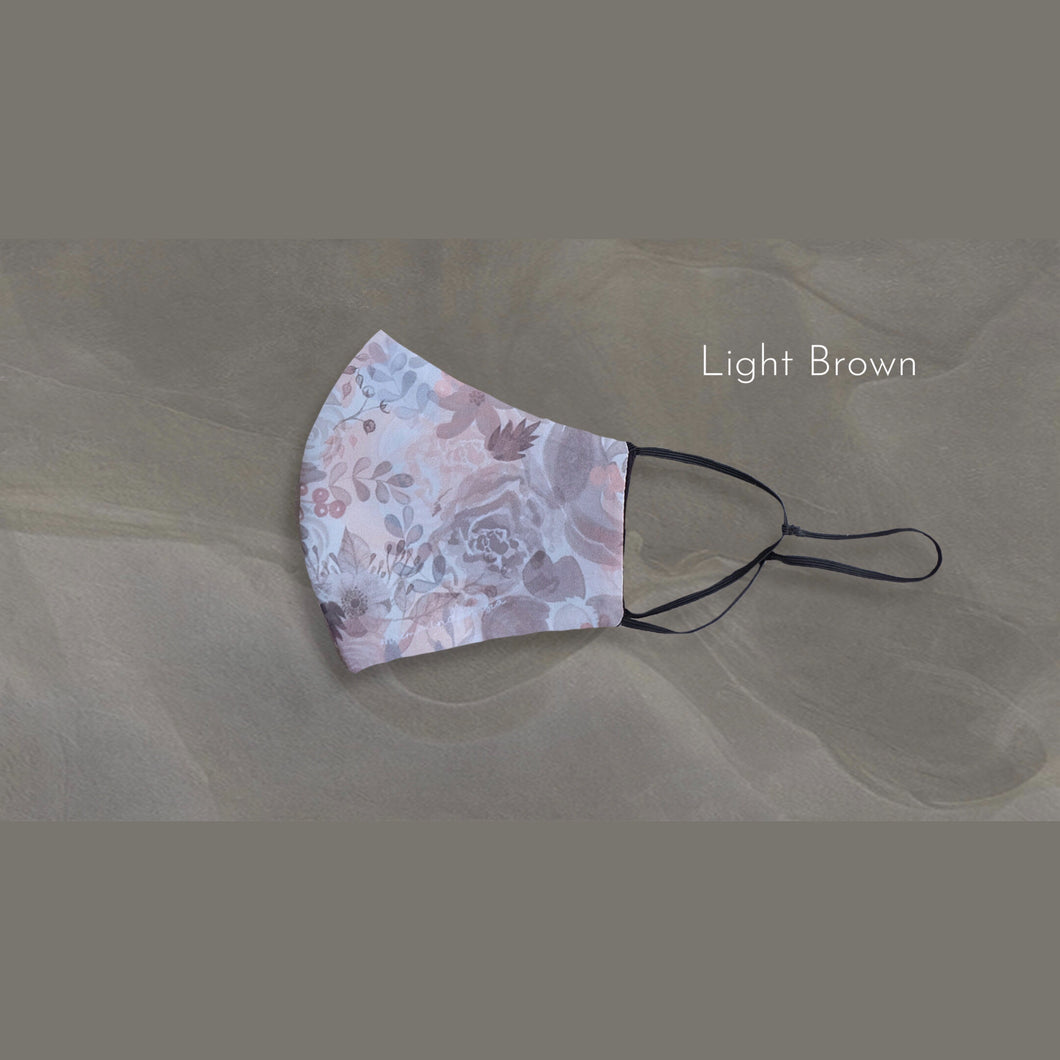Maima Masker Blossom microfiber Printed Headloop & Earloop - Light Brown -