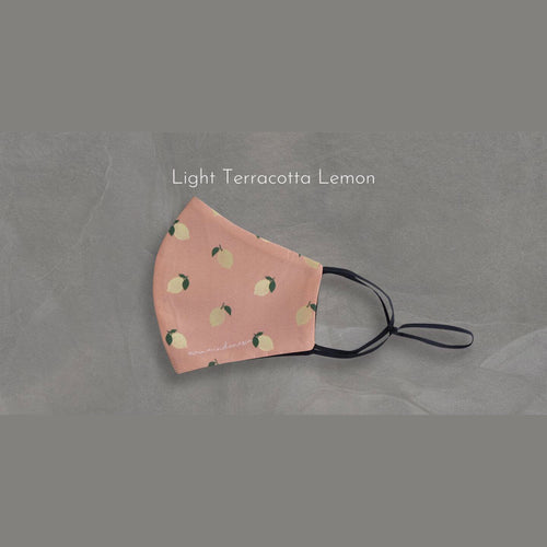 Masker microfiber Printed Fruit & Floret - Light Terracotta Lemon-