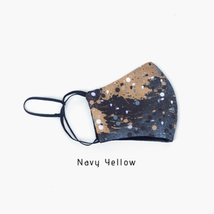 Maima Masker microfiber Printed Headloop & Earloop Navy Yellow